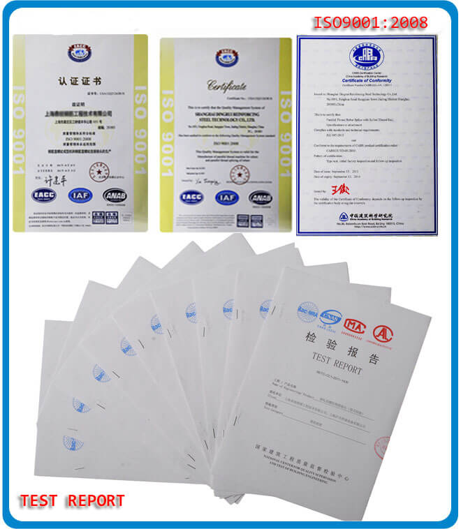 rebar coupler certificates