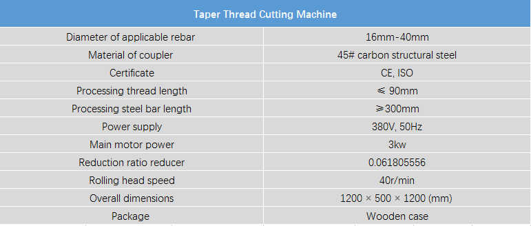 Aleono Rebar Taper Thread Cutting Machine Parameters